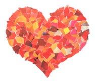 Coeur des parts d'un papier rouge photographie stock libre de droits