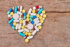 Coeur des pilules, l'espace de copie Photographie stock