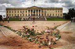 Coeur des roses avec le château norvégien Images stock