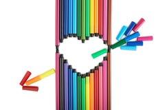 Coeur des stylos feutre Photo libre de droits