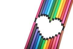 Coeur des stylos feutre Images libres de droits