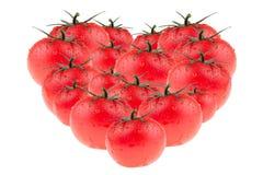 Coeur des tomates sur un fond blanc Modèle de tomate Art de concept Macro Texture D'isolement Images stock
