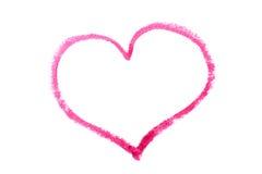 Coeur dessiné dans le rouge à lèvres Photographie stock libre de droits