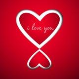 Coeur deux à l'amour sur le papier rouge Photos stock