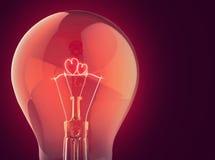 Coeur deux brûlant dans la lampe électrique Image libre de droits