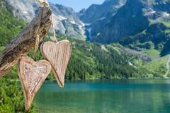 Coeur deux en bois Images libres de droits
