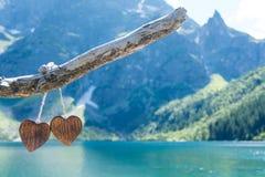 Coeur deux en bois Photo libre de droits