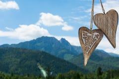 Coeur deux en bois Photographie stock libre de droits