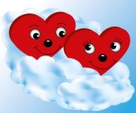Coeur deux sur un nuage Images libres de droits
