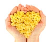 Coeur disponible de vue de pâtes Photographie stock libre de droits