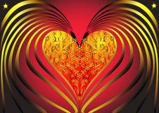 Coeur doré avec la spirale Photos stock