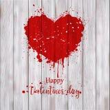 Coeur du ` s de Valentine peint avec la peinture rouge illustration libre de droits
