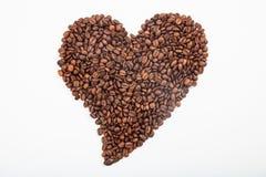 Coeur effectué à partir des grains de café Image stock