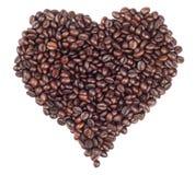 Coeur effectué avec des grains de café Image stock