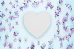 Coeur en bois blanc vide et fleurs lilas Images stock