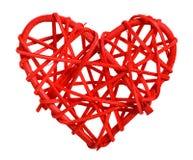 Coeur en bois décoratif en rouge image stock