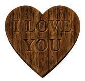 Coeur en bois d'amour de panneau Photographie stock