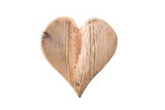 Coeur en bois d'isolement pour la valentine sur le fond blanc Photo libre de droits