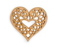 Coeur en bois d'isolement sur le masque de coupage d'isolement sur le fond blanc, l'illustration de vue supérieure pour le jour d Images stock