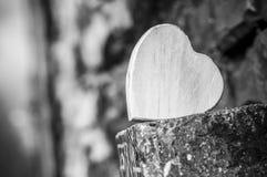 Coeur en bois dans extérieur - concept d'amour Photos libres de droits