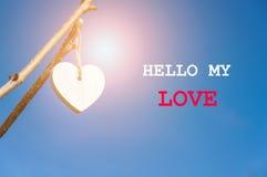 Coeur en bois de vintage blanc pendant de la branche d'arbre Rose rouge Fond et inscription brouillés bonjour mon amour Images stock