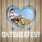 Coeur en bois Oktoberfest Photos libres de droits