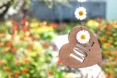 Coeur en bois sur une ficelle, et camomille Photographie stock
