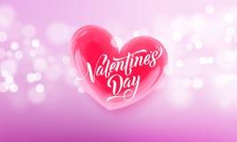 Coeur en cristal rouge heureux des textes et de valentine de lettrage de jour de valentines pour le fond de carte de voeux Jour d Images stock