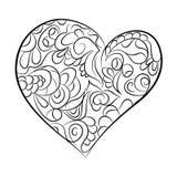 Coeur en noir et blanc Page pour livre de coloriage Images libres de droits