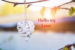 Coeur en osier de pays pendant de la branche d'arbre Rose rouge Fond et inscription brouillés bonjour mon amour Images stock