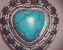Coeur en pierre de turquoise Photographie stock