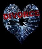 Coeur en verre de divorce Photos stock