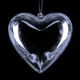 Coeur en verre en suspens Photos libres de droits