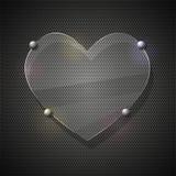 Coeur en verre sur la grille en métal. Illustration de vecteur Photographie stock