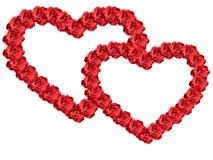 Coeur encadré par deux des fleurs Image stock