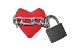 Coeur enchaîné et verrouillé Images libres de droits