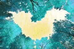 Coeur entouré par des arbres de ressort Photo libre de droits