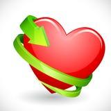 Coeur enveloppé avec la flèche Photos stock