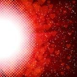 Coeur et étoiles abstraits sur un fond rouge illustration stock