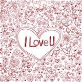 Coeur et amour tirés par la main d'ensemble Photographie stock