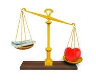 Coeur et argent sur des échelles Image libre de droits