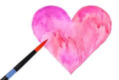 Coeur et brosse d'aquarelle d'isolement sur le blanc. Jour de valentines Image stock
