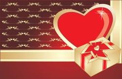 Coeur et cadeau sur le fond décoratif Image stock