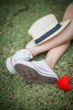 Coeur et chapeau rouges Photo libre de droits