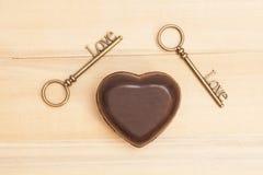 Coeur et clés pour l'amour Images stock