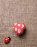 Coeur et coccinelle sur le tissu Photo libre de droits