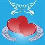 Coeur et colombe Photo stock