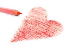 Coeur et crayon rouges Images libres de droits