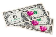Coeur et dollars Photographie stock libre de droits