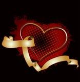 Coeur et drapeau d'or sur l'image tramée rouge illustration de vecteur